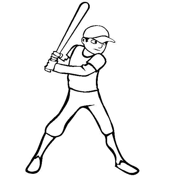 Coloriage et dessins gratuits Frappeur de Baseball vecteur à imprimer