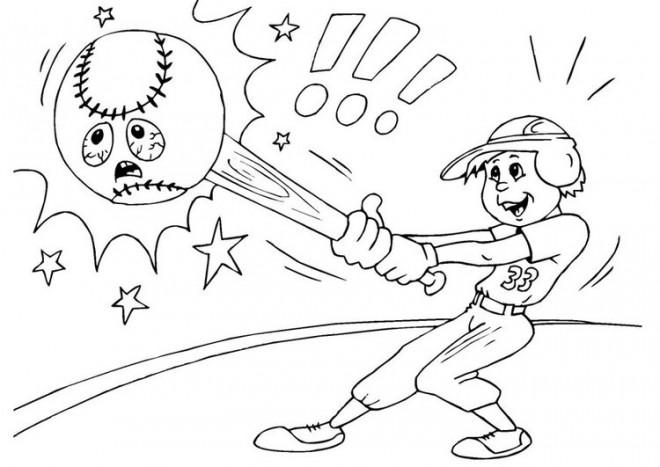 Coloriage et dessins gratuits Frappeur et Balle malheureuse à imprimer