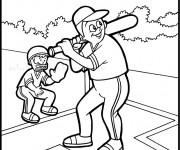 Coloriage Frappeur et Receveur de Baseball