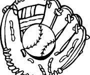 Coloriage Gant et Balle de Baseball en noir