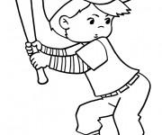 Coloriage Garçon frappeur de Baseball