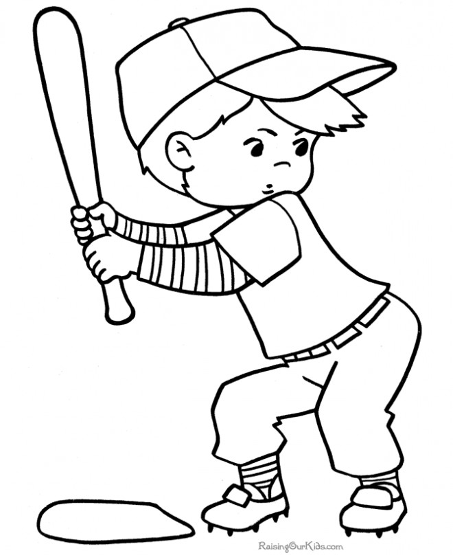 Coloriage et dessins gratuits Garçon frappeur de Baseball à imprimer