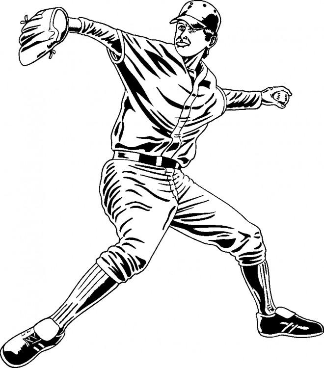 Coloriage et dessins gratuits Joueur de Baseball à découper à imprimer