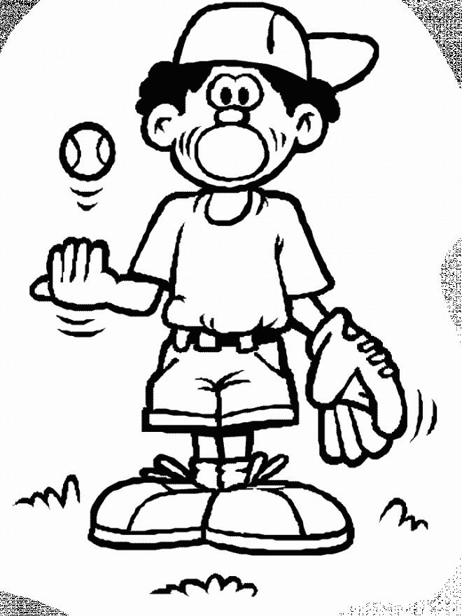 Coloriage et dessins gratuits Joueur de Baseball humoristique à imprimer