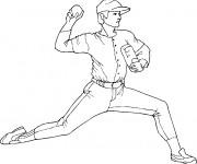Coloriage et dessins gratuit Joueur de Baseball lance la balle à imprimer