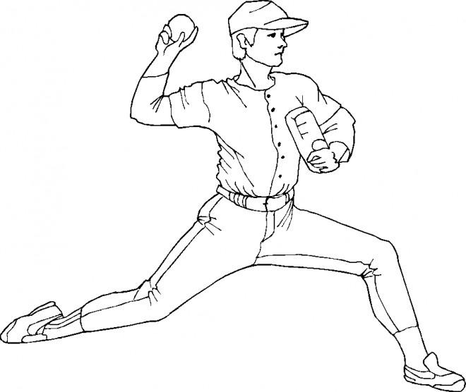 Coloriage et dessins gratuits Joueur de Baseball lance la balle à imprimer