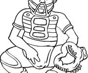 Coloriage Joueur de Baseball qui reçoit la balle