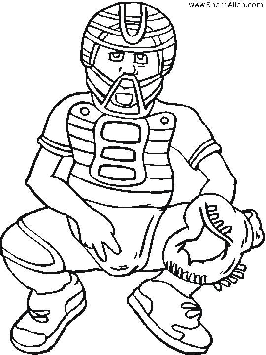 Coloriage et dessins gratuits Joueur de Baseball qui reçoit la balle à imprimer
