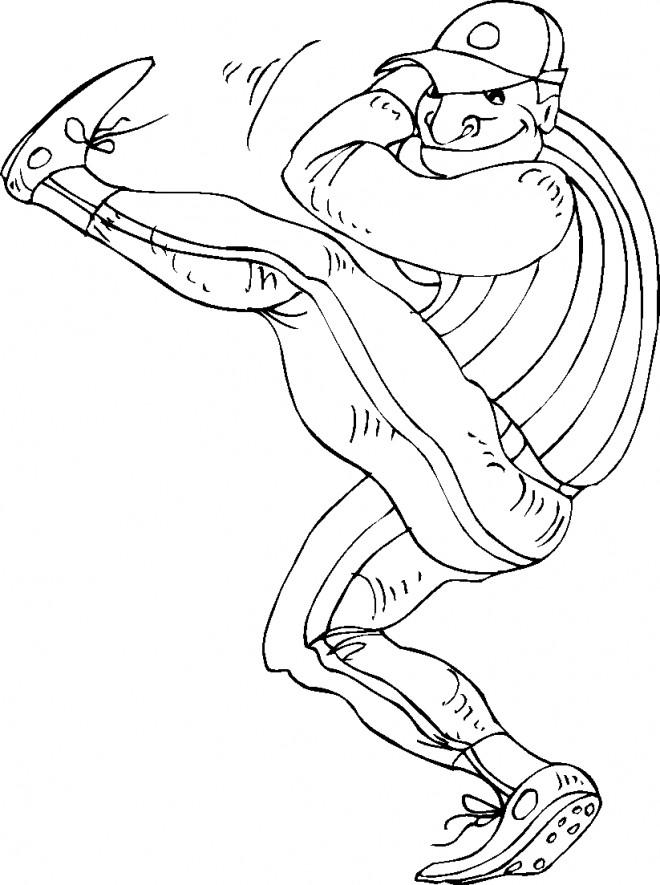 Coloriage et dessins gratuits Joueur de Baseball se prépare pour lancer la balle à imprimer