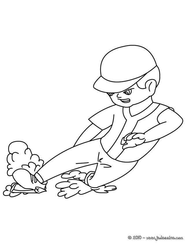 Coloriage et dessins gratuits Joueur de Baseball touche la base à imprimer