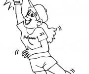 Coloriage Joueur féminine intercepte la balle de Baseball