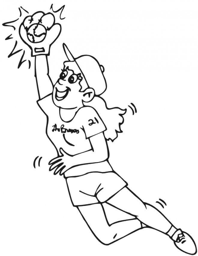 Coloriage et dessins gratuits Joueur féminine intercepte la balle de Baseball à imprimer