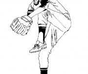 Coloriage Joueur qui lance la balle de Baseball