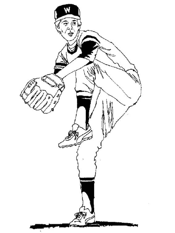 Coloriage et dessins gratuits Joueur qui lance la balle de Baseball à imprimer