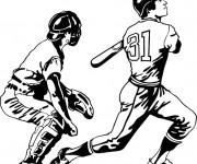 Coloriage et dessins gratuit Joueurs de Baseball à imprimer