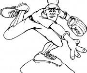 Coloriage et dessins gratuit Lanceur Baseball à imprimer