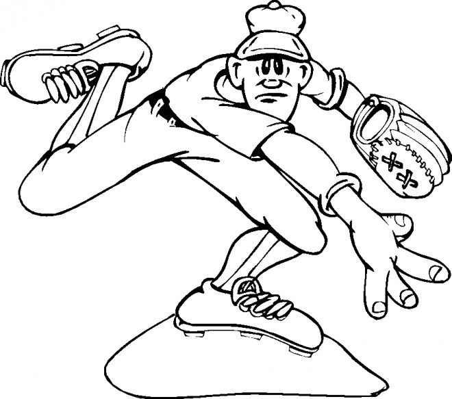 Coloriage et dessins gratuits Lanceur Baseball à imprimer