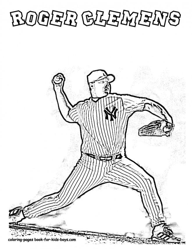 Coloriage et dessins gratuits Lanceur Baseball Roger Clemens à imprimer