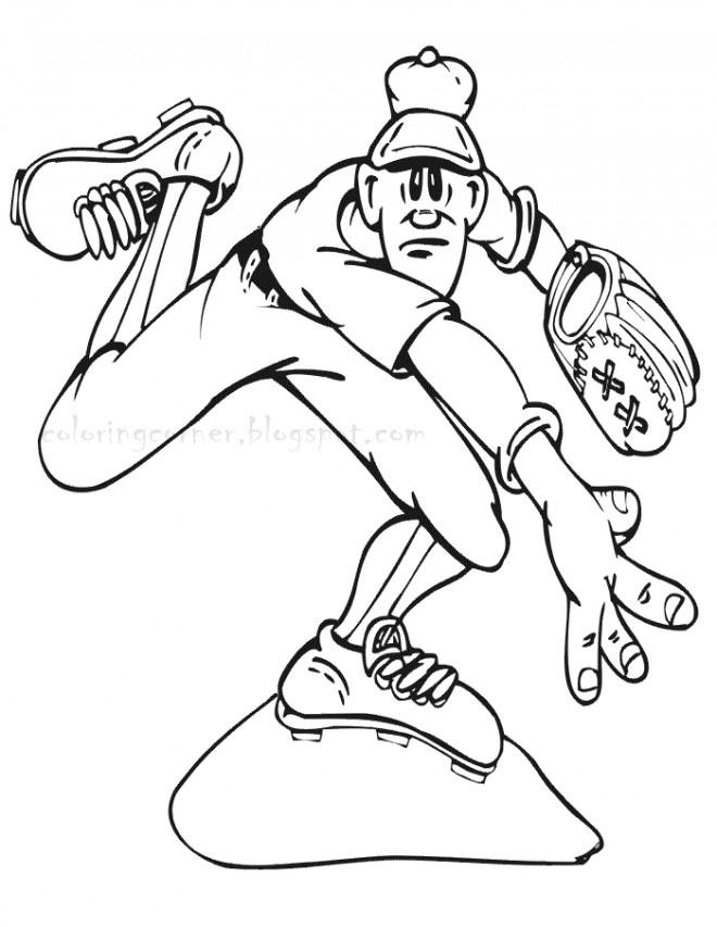 Coloriage et dessins gratuits Lanceur de Baseball drôle à imprimer