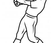 Coloriage Lanceur de Baseball et sa batte