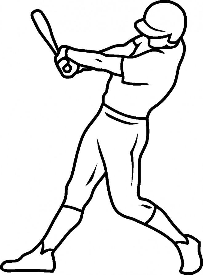 Coloriage et dessins gratuits Lanceur de Baseball et sa batte à imprimer