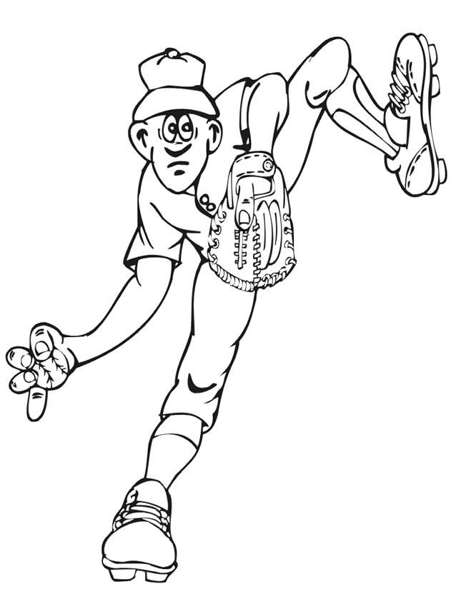 Coloriage et dessins gratuits Lanceur de Baseball facile à imprimer