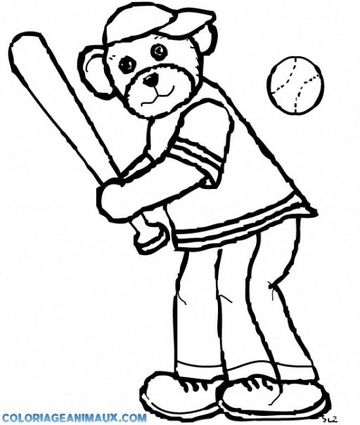 Coloriage et dessins gratuits Ours joue au Baseball à imprimer