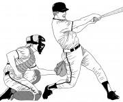 Coloriage Receveur et Frappeur Baseball au crayon