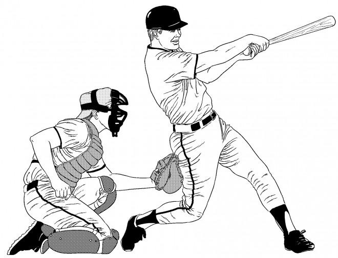 Coloriage et dessins gratuits Receveur et Frappeur Baseball au crayon à imprimer