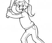 Coloriage Une fille joue au Baseball