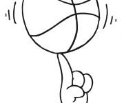 Coloriage Balle de basket tourné sur doigt