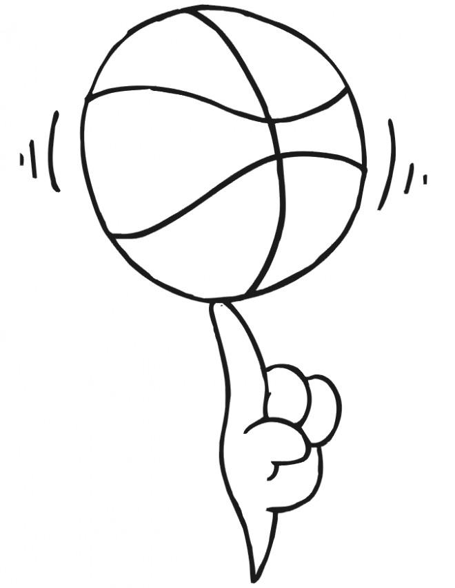 Coloriage et dessins gratuits Balle de basket tourné sur doigt à imprimer