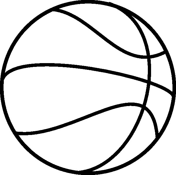 Coloriage et dessins gratuits Ballon de Basket en noir à imprimer