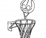 Coloriage Ballon de Basket humoristique