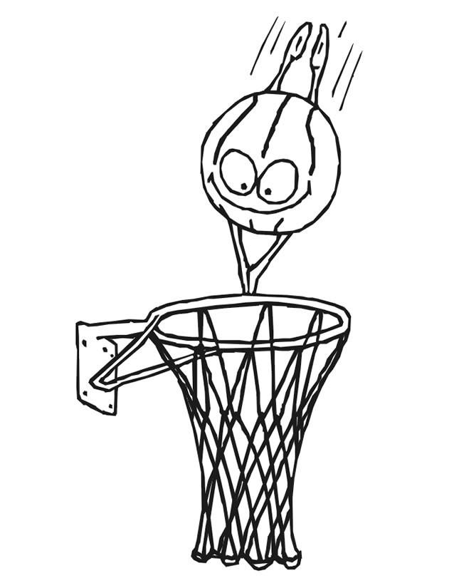 Coloriage et dessins gratuits Ballon de Basket humoristique à imprimer