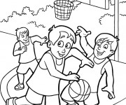 Coloriage Basket en plein air