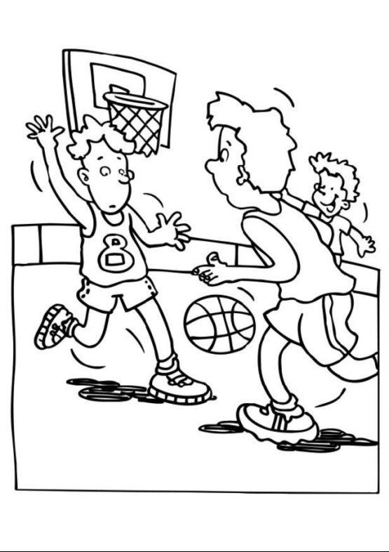 Coloriage et dessins gratuits Basketball attaque et défense à imprimer