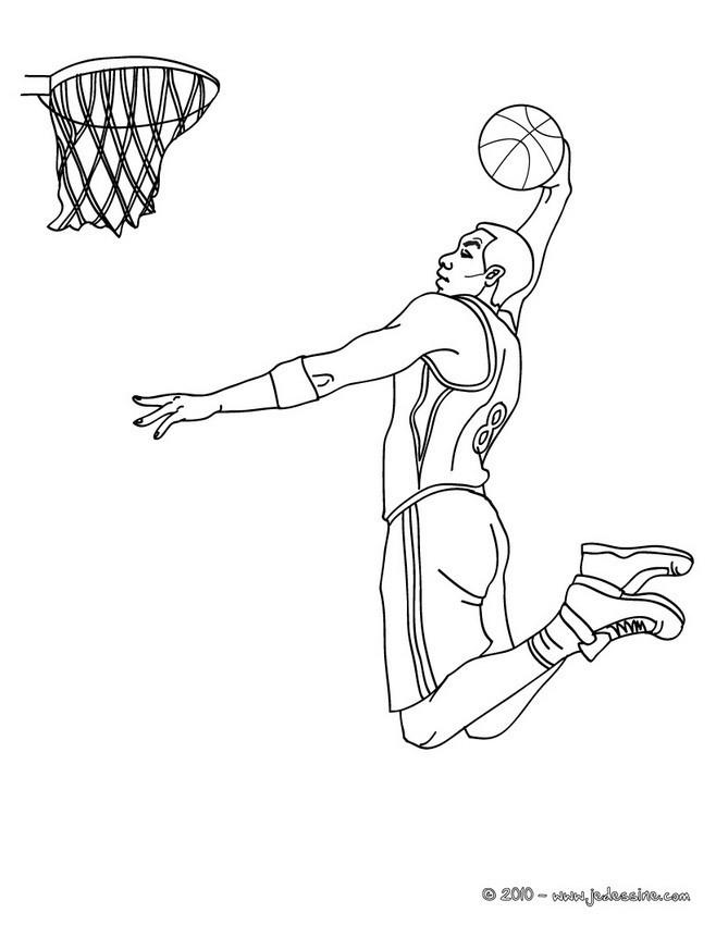 Coloriage basketball dunk dessin gratuit imprimer - Dessin basket ...