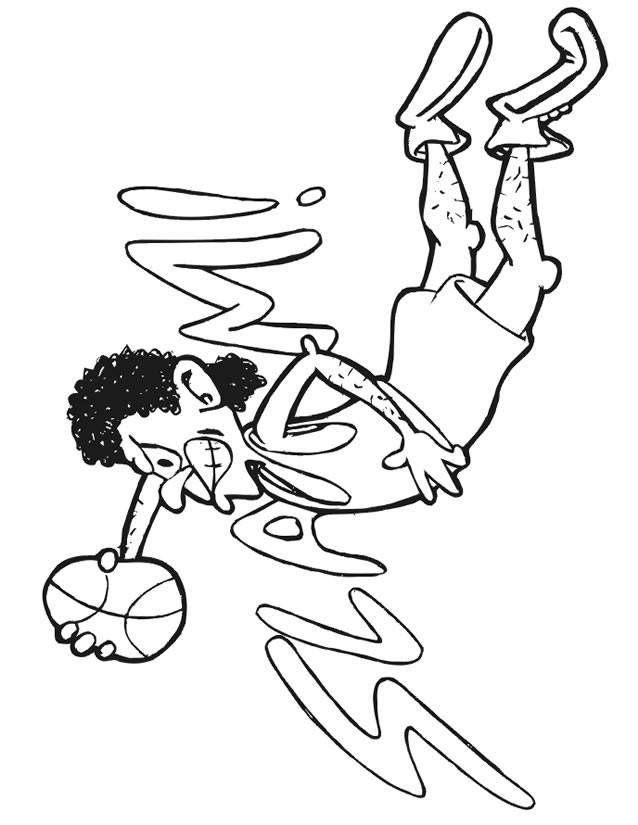 Coloriage et dessins gratuits Basketball Dunk humoristique à imprimer