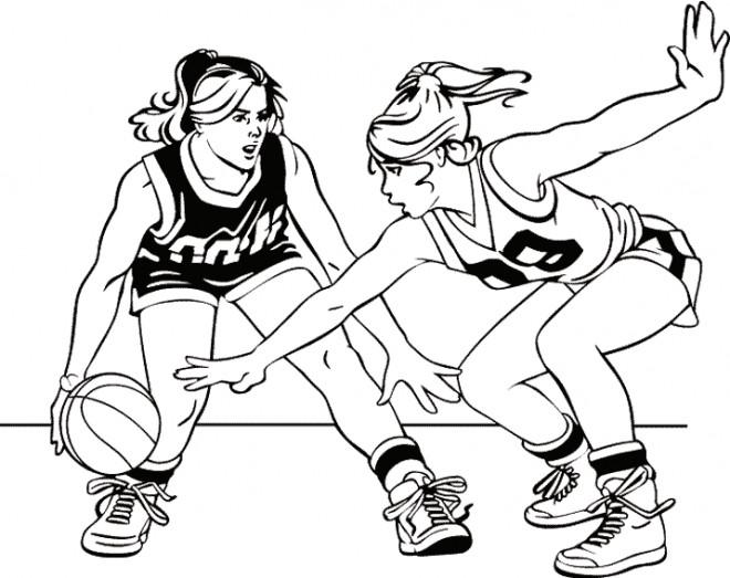 Coloriage et dessins gratuits Basketball Match Féminine à imprimer