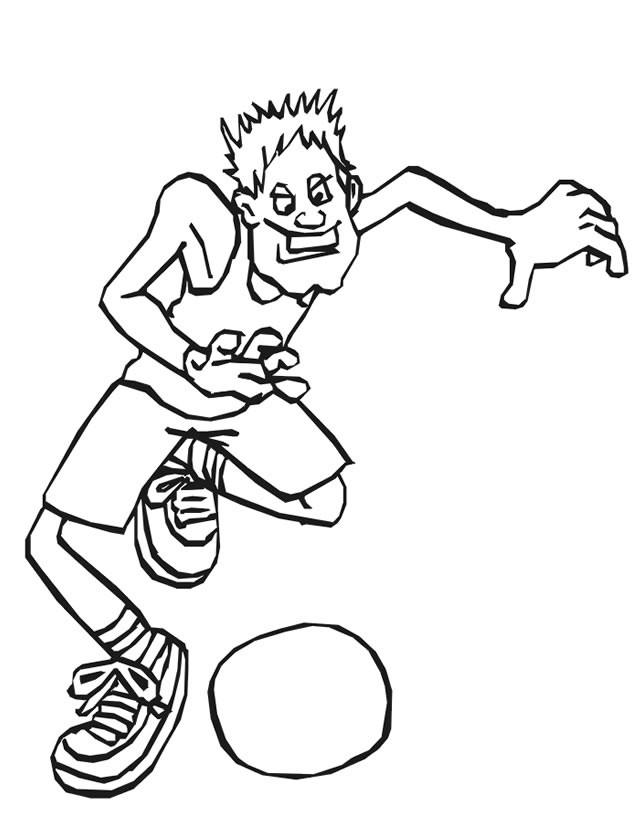 Coloriage et dessins gratuits Basketteur comique à imprimer
