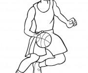 Coloriage Basketteur contrôle le ballon