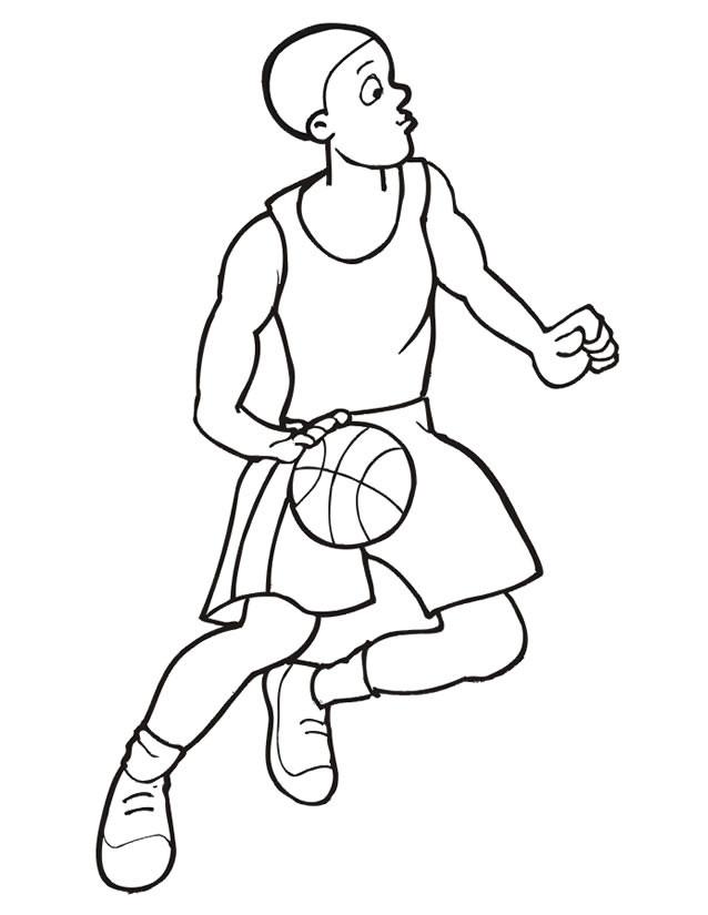 Coloriage et dessins gratuits Basketteur contrôle le ballon à imprimer