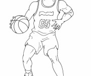 Coloriage Basketteur dribble le ballon