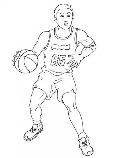Coloriage Basketteur dribble le ballon dessin gratuit à imprimer