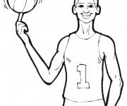 Coloriage Basketteur et Ballon en ligne