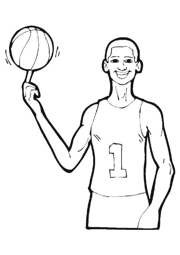 Coloriage et dessins gratuits Basketteur et Ballon en ligne à imprimer