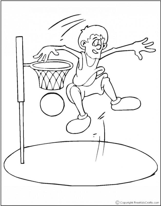 Coloriage et dessins gratuits Basketteur et Slam Dunk à imprimer