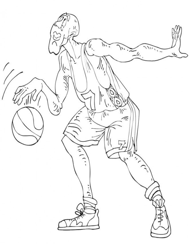Coloriage et dessins gratuits Basketteur inattentif à imprimer