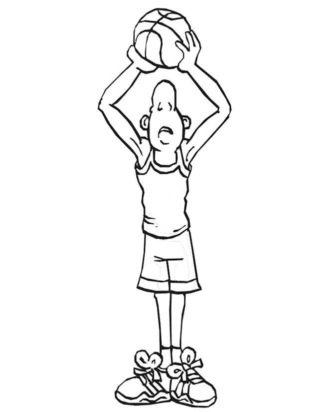 Coloriage et dessins gratuits Basketteur regarde en haut à imprimer
